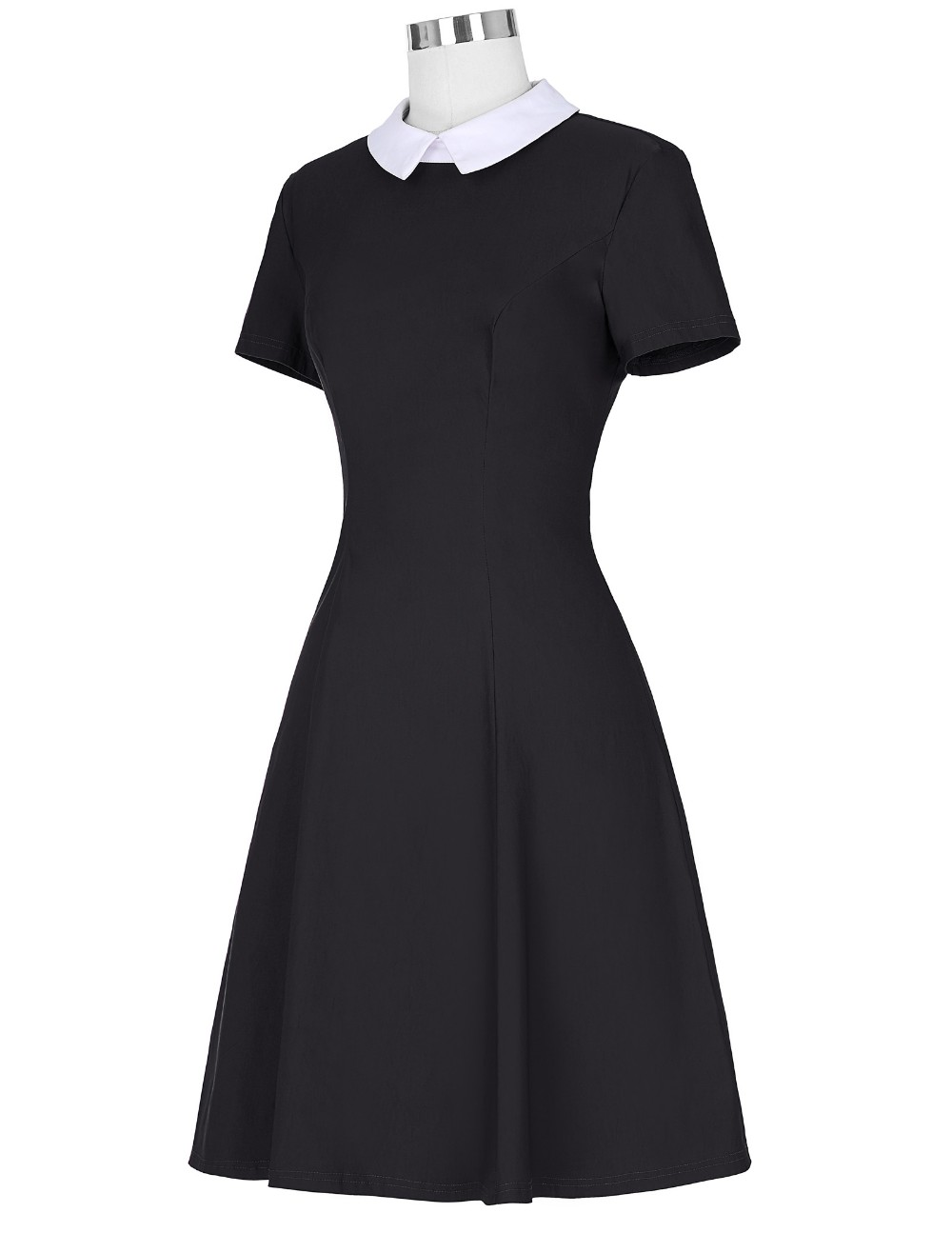 Kate Kasin Retro Vintage Short Sleeve Doll Collar High Stretchy Party Picnic Black Dress KK000388-1