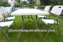 strong and light outdoor white plastic folding table HEPE blow mold folding table
