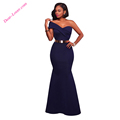 latest wedding Navy Blue Sexy One Shoulder Ponti indian gown designs