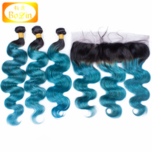 two town color 13*4 frontal lace closure with bundles body wave ombre color hair weft