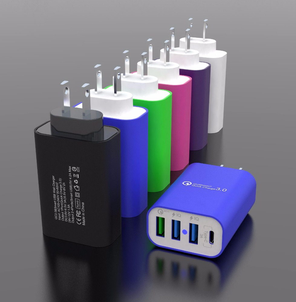 2018 latest QC 3.0 wall charger 4 ports 6.5A quick charge usb wall charger