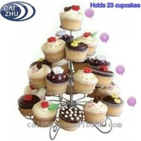 Stainless steel metal 4 Tier Wire Cupcake Stand for wholesale