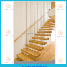 Internal Glass Stair Floating Wood Stairs