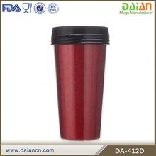 BPA Free Plastic Insulated Double Walled Coffee Mugs With Paper Insert