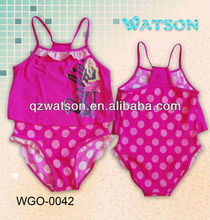 fashion sexy little girls swimsuit with ruffler top matching