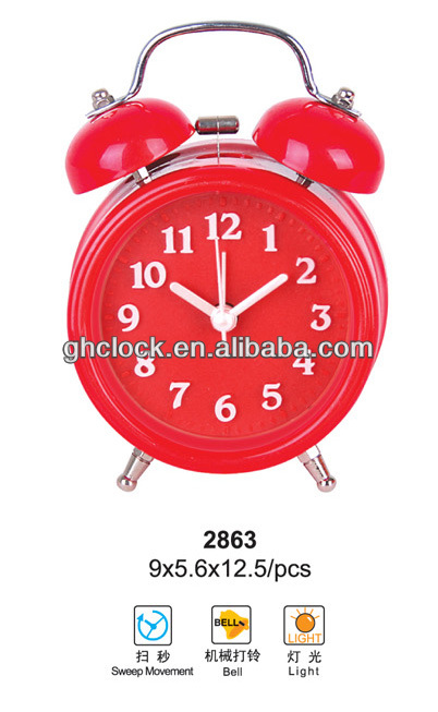 2015 hot selling Metal/Plastic Bell Double Quartz Analog Table Clock(2863)