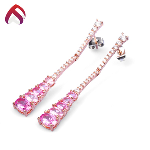 rose gold plated created ruby white cz 925 sterling silver earring