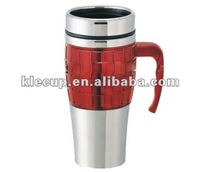 Wholesale customized promotional coffee mug coffee thermos travel mug with push lid & handle