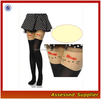 Women Sexy Silk Socks/Cute Cat Pattern Young Girls Fashion Pantyhose/ Joint Design Young Girls Transparent Panrtyhose