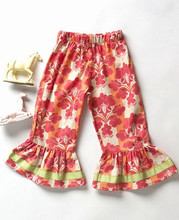 Hot sale remake children girls red flower clothing outfits kids boutique floral ruffle dress pants