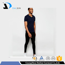 High quality custom printing sport dry fit 160g cotton blue blank men plain bulk v-neck t shirt