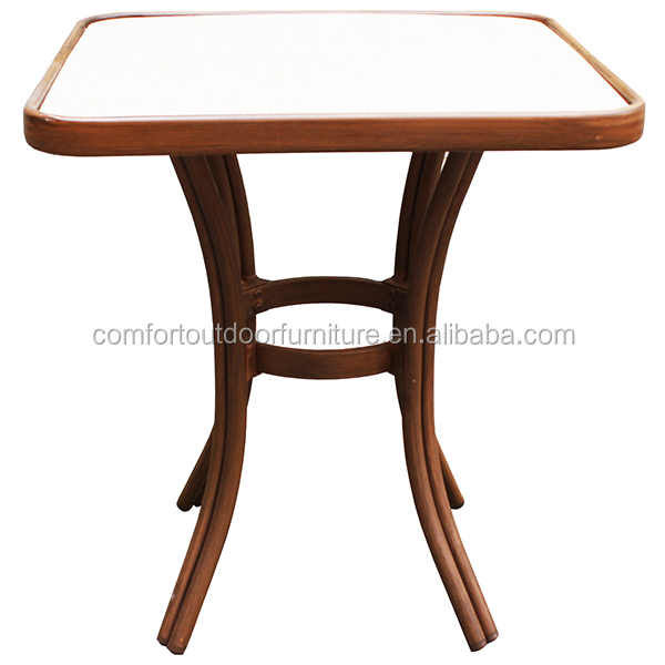 Natural Wood Look Finishing Aluminum Teslin Bistro Table