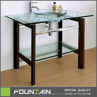 American Freestanding Clear Glass Basin with Solid Wood Pedestal Bathroom Vanity Modern Glass Cabinet Basin