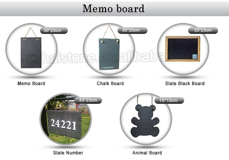 Slate hanging memo board or plant label or black writing board