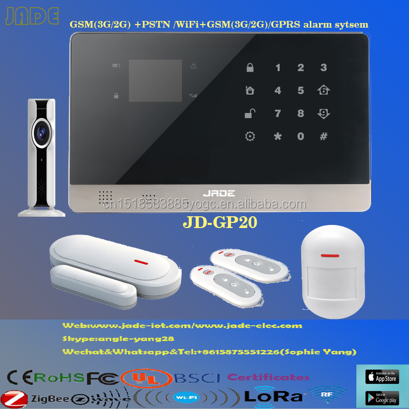JD-GP20 Jade GSM&PSTN/WiFi&GPRS Smart Home DIY alarm network alarm systems with APP Support Work With Amazon/alibaba LCD display