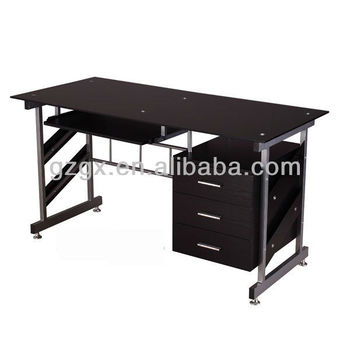 GX-606 Modern black glass office desk