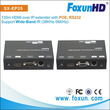 China factory SX-EP25 H.264 HDMI Extender with 60Hz 120m via cat5e/6 cable with RS232 and POE and built in DIP swtich
