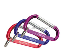 mini Fashion High Quality Metal aluminum carabiner D shape keychain wholesale