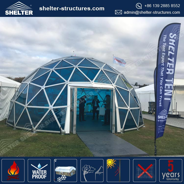 2016 Shelter Structures glass wall metal frame dome tent, geodesic domes for sale