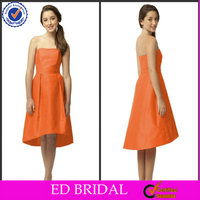 2014Spring Backless Short Front Long Back Orange Taffeta Flower Girl Dresses