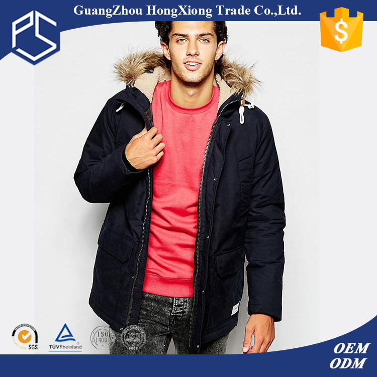 Winter High Quality Custom Fashion Men Cotton Fur Hoody Snowboard Jacket