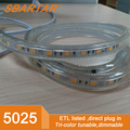 ETL Listed AC120V Flexible Tri-color Tunable LED Strip Lights Waterproof