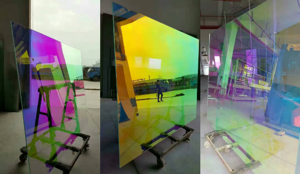 1.37m x 30m Soap Water Self Adhesive Dichroic Decorative Rainbow Building Tint Reflective Window Film