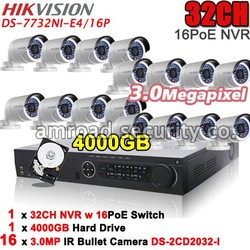 HIKVISION Kit DS-7732NI-SP 32CH NVR 16PoE 5MP Resolution Recording +4TB HDD+16x 3MP waterproof IR Bullet IP Camera DS-2CD2032-I