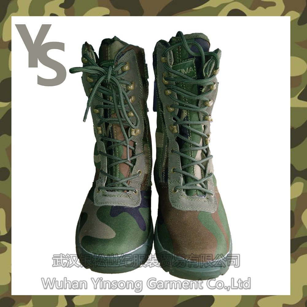 [Wuhan YinSong] Military army green camouflage waterproof combat hunting boots for man