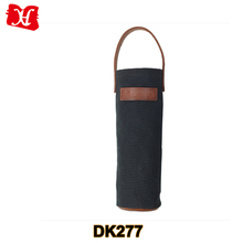 Waxed canvas wine tote bag wine carrier with leather handle