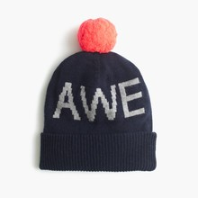BOY'S INTARSIA KNITTED BEANIE(HAT)WITH LINING AND POM POM