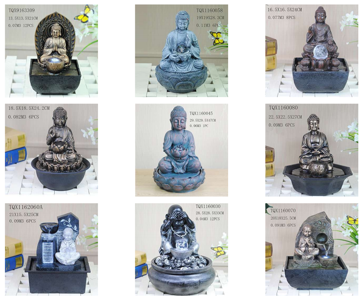 Home decorative laughing buddha indoor water fountains