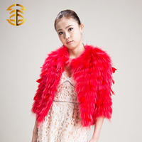 Cheap Price Red Luxury Korean Women Natural Raccoon Fur Coat