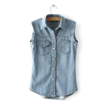 EY0477A Fashion Women Washed Denim Wholesale Jean Vest