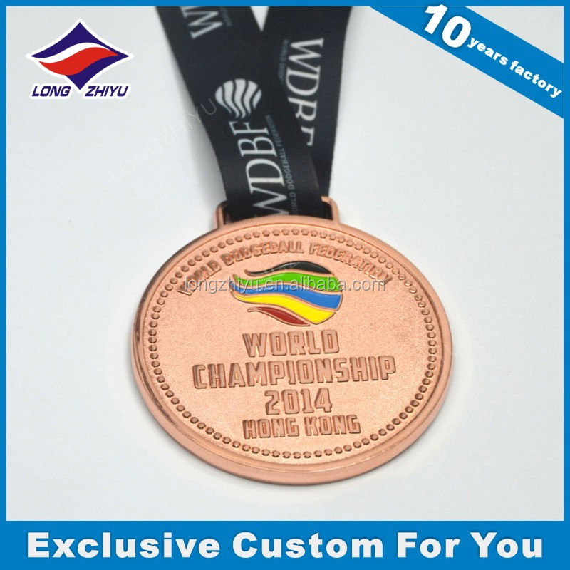 2014 world championships Hongkong prize,die casting zinc alloy copper medal with ribbon