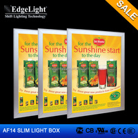 Edgelight AF14 clip claps , single sided LED display , aluminum extrusion advertising led slim snap frame light box