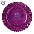 PZ39060 Wholesale wedding decoration purple glass charger plates
