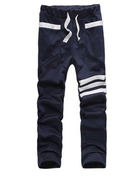 Men fashion long pants patchwork sportswear in navy blue