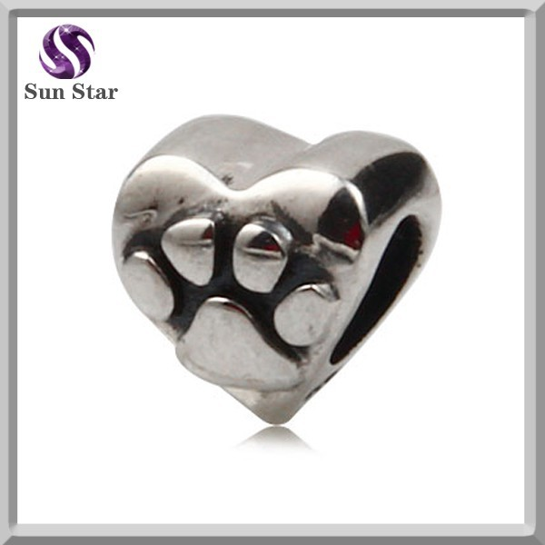 Solid sterling silver 925 heart shape charm Big paw prints pattern bead