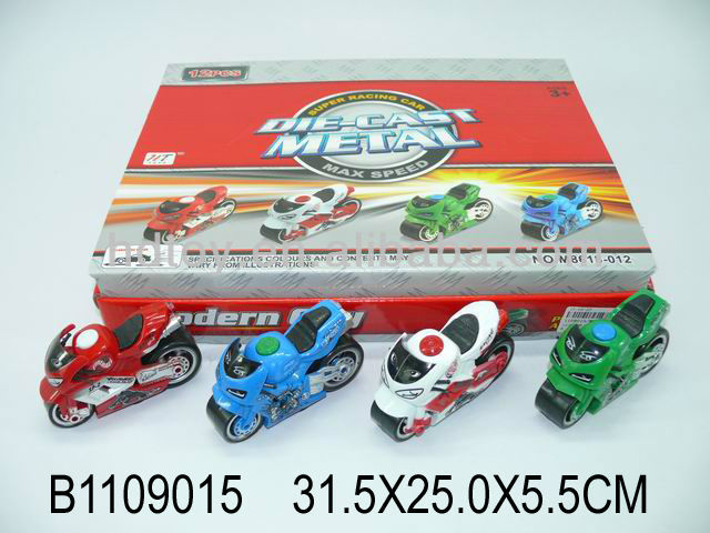 Popular toy 12pcs die cast pull back motorcycle