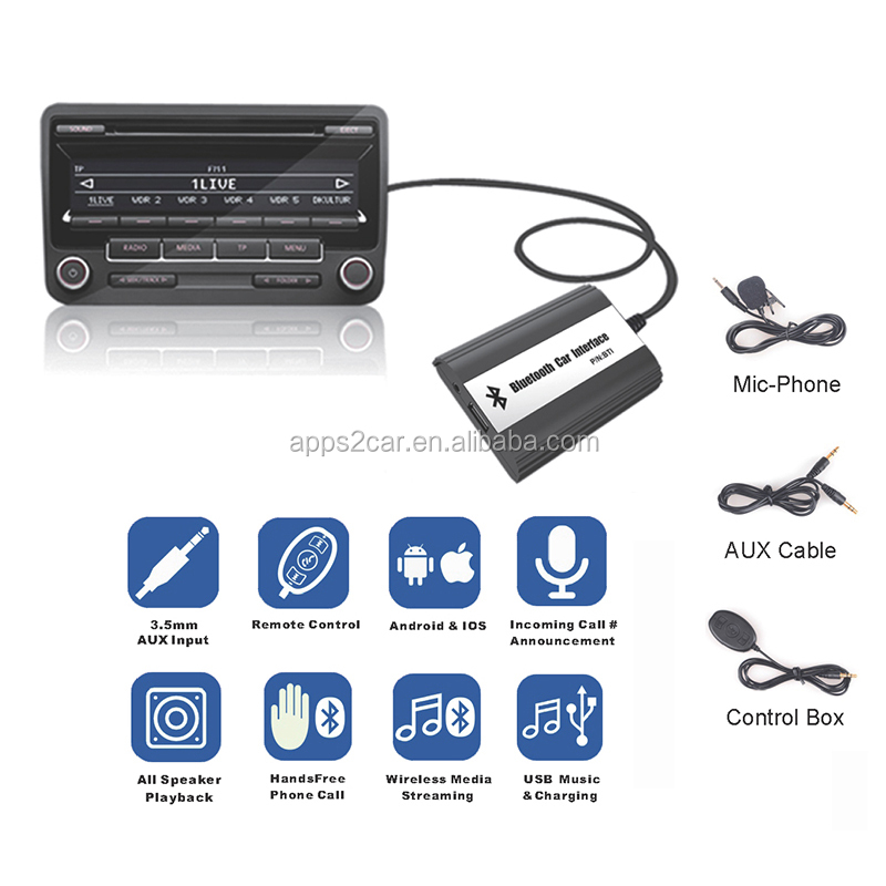 Apps2car Bluetooth car kit A2DP HFP music streaming and hands free phone call via CD changer port, Bluetooth interface for Honda
