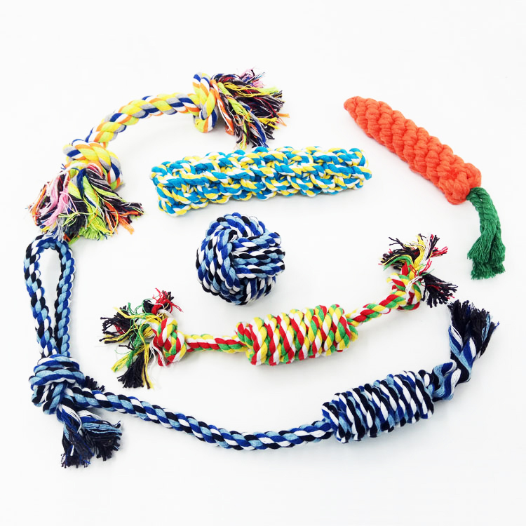 Hot sale 6 pieces chew fabric nylon rope pet set teething dog toys