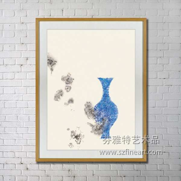 china blue abstract tortile vase oil painting