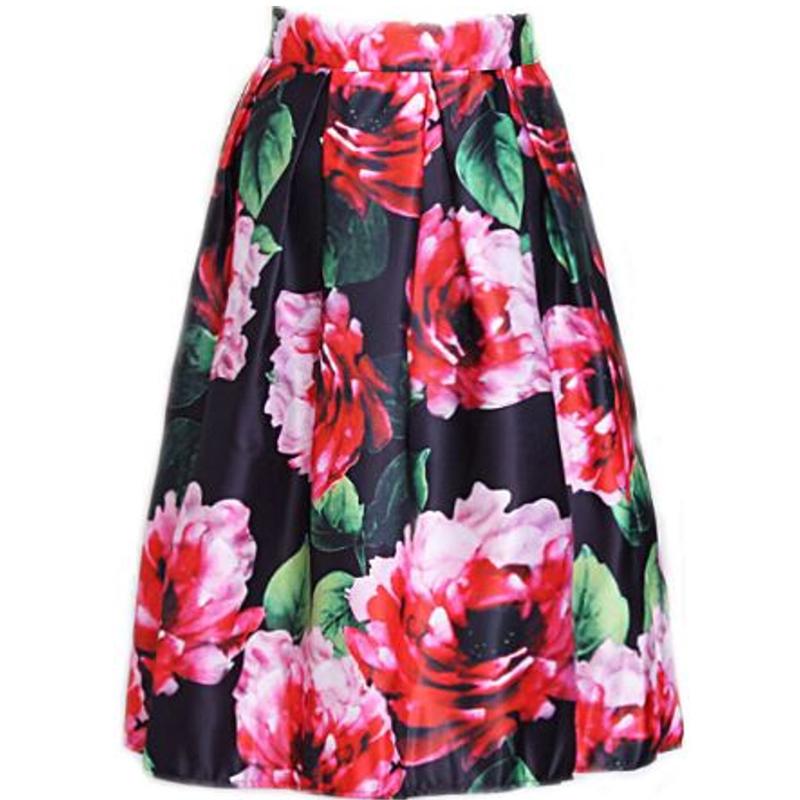 Buy Autumn Winter American Big Flower Digital Print Women Midi Jupe
