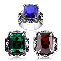 BEIER Man Punk Rings Vintage STAINLESS Steel Red green Gem Finger Ring With Stone Fashion Jewelry Hot Sale Item BR8-183