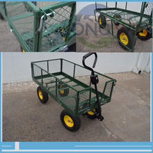 Hand tool wire mesh sided metal utility steel flatbed garden cart