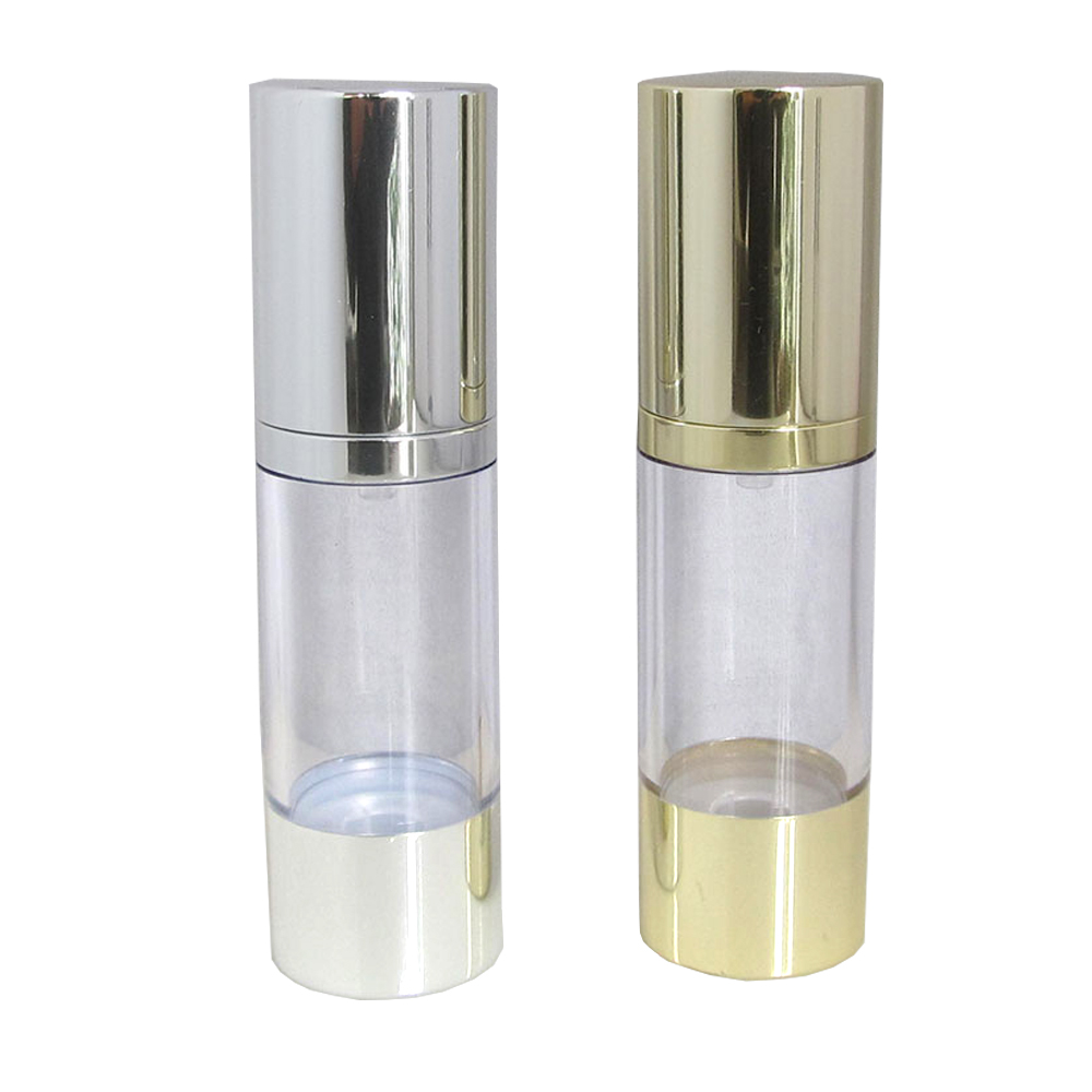 15ml 20ml 25ml 30ml 50ml 80ml 100ml 120ml 200ml Clear Plastic Airless Pump Bottle With Silver or Golden Top and Bottom