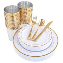 New products Gold rimmed plastic cups Disposable Dinnerware Set charger <strong>plate</strong>