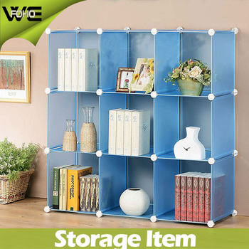 9 cubes environmental PP plastic blue storage organizer