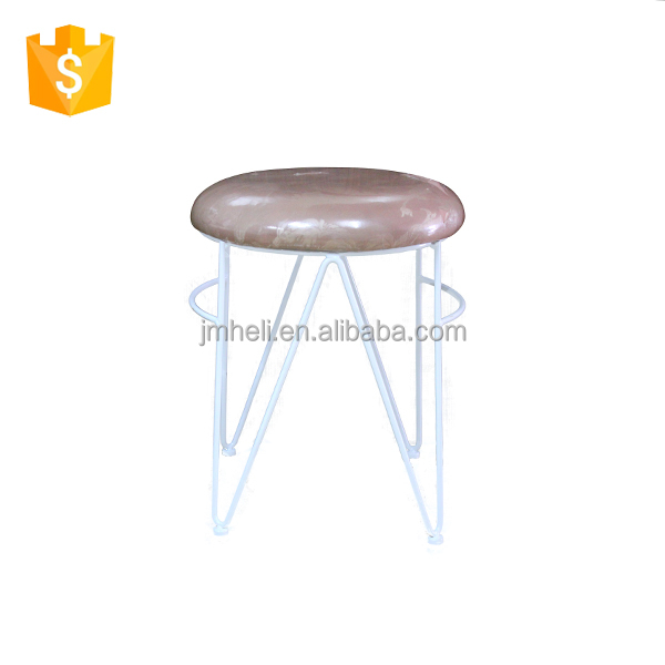 customized upholstered indoor steel frame and leg bench stool